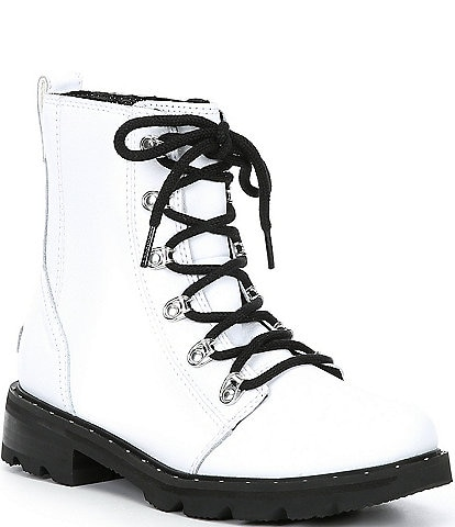 Sorel Lennox Lace-Up Waterproof Leather Block Heel Lug Sole Combat Booties