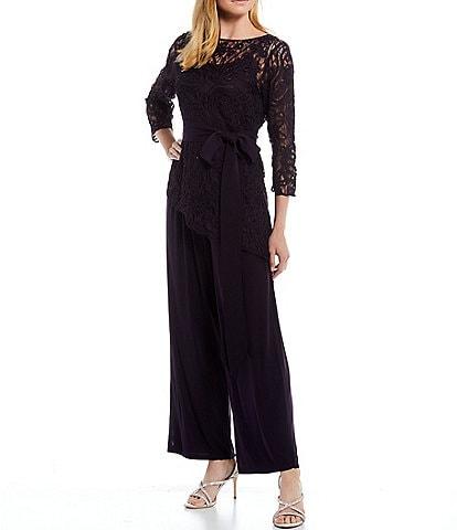 Soulmates Asymmetrical Baroque Lace Top 3/4 Sleeve Bodice Pant Set