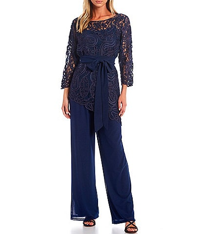 Soulmates Asymmetrical Baroque Lace Top Bodice Pant Set