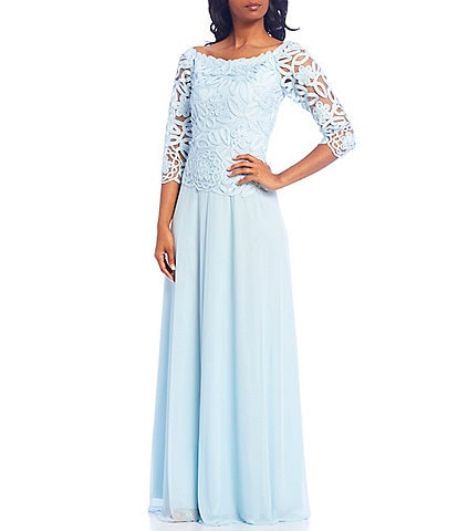 Soulmates Embroidered Lace 3/4 Sleeve Boat Neck Gown