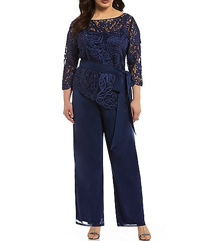 Soulmates Plus Asymmetrical Baroque Lace Pant Set