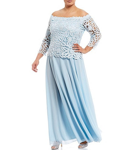 Soulmates Plus Size Off-the-Shoulder 3/4 Sleeve Beaded Bodice Lace Gown
