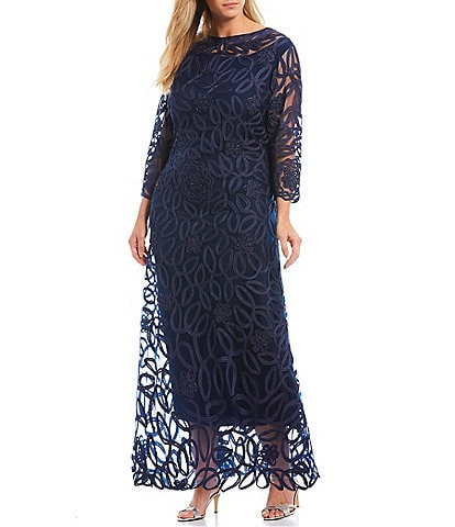 Soulmates Plus Size Soutache 3/4 Sleeve Long Gown