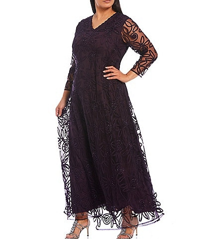 Soulmates Plus Size V-Neck 3/4 Sleeve Sequin Soutache Midi A-Line Gown