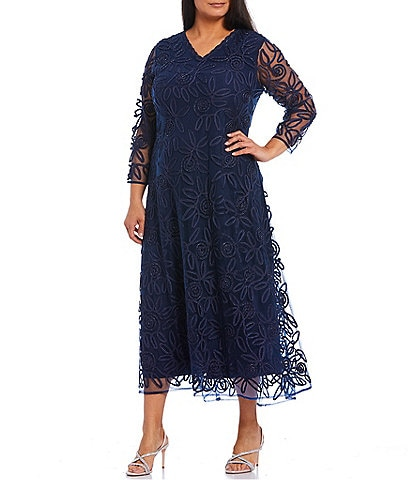Soulmates Plus Size V-Neck 3/4 Sleeve Sequin Soutache Midi A-Line Gown