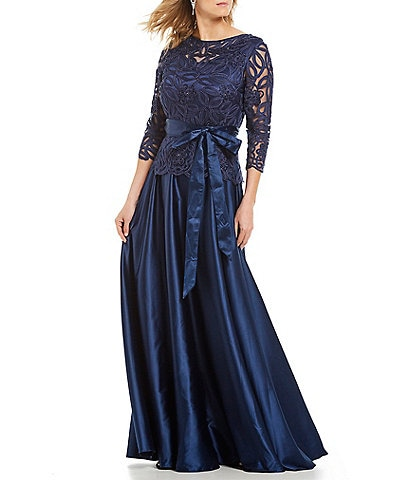 Soulmates Soutache Bodice Bow Tie Waist Detail 3/4 Sleeve Gown