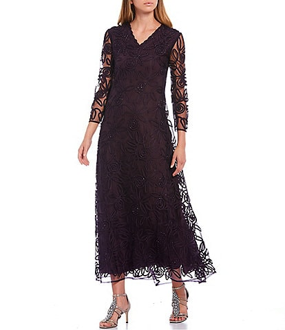 Soulmates Soutche Beaded Lace V-Neck 3/4 Sleeve Midi A-Line Gown