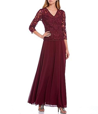 Soulmates V-Neck 3/4 Sleeve Lace Bodice A-Line Dress
