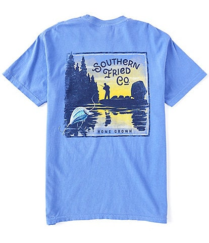 Southern Fried Cotton Men's Bass Fishin Short-Sleeve Pocket Graphic Tee