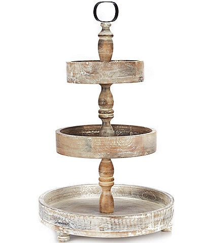 Southern Living Festive Fall 3-Tier Wood Server