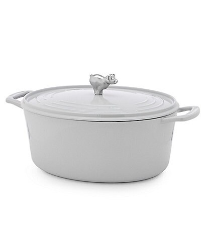 Southern Living 7-Quart Cast Iron Oval Casserole with Pig Knob