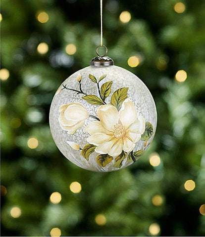 Southern Living A Christmas Classic Collection Magnolia Flower Silver Glass Ball Ornament