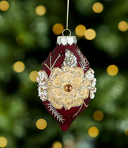 Southern Living A Christmas Classic Collection Red Finial with Gold Flower Glass Drop Ornament