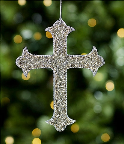 Southern Living A Christmas Classic Collection Silver Beaded Cross Ornament