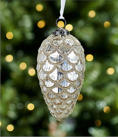 Southern Living A Christmas Classic Collection Silver Mercury Glass Pinecone Ornament