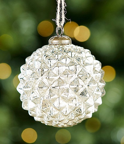 Southern Living A Christmas Classic Collection Silver Spiked Glass Ball Ornament