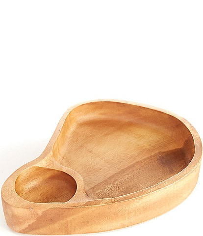 Southern Living Acacia Wood Kidney Shape Chip N Dip