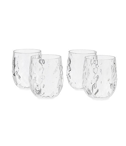 Southern Living Acrylic Valencia Stemless Wine Glasses Set of 4