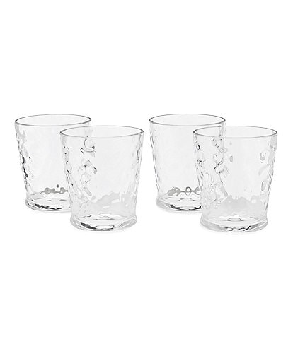 Southern Living Acrylic Valencia Textured Double Old-Fashioned Glasses, Set of 4