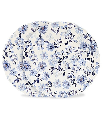 Southern Living Alexa Blue & White Floral Accent Plates, Set of 2