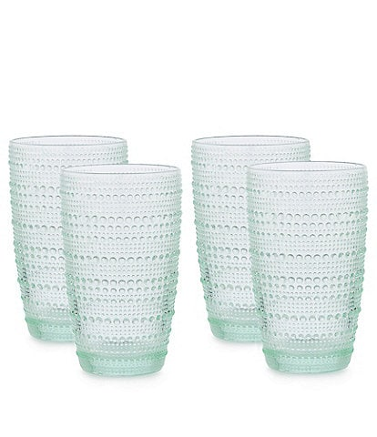Southern Living Beaded Highball Green Glasses, Set of 4