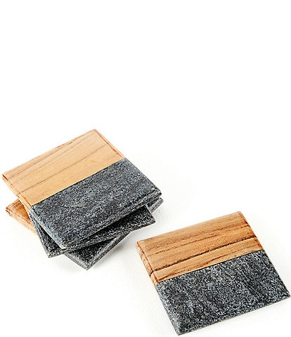 Southern Living Marble & Acacia Wood Square Coasters, Set of 4