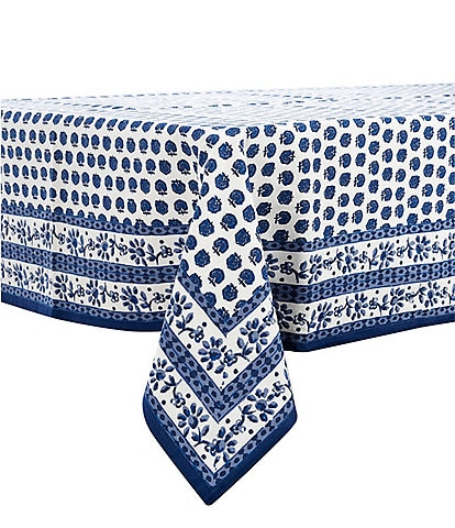 Southern Living Blue Floral Block Print Tablecloth