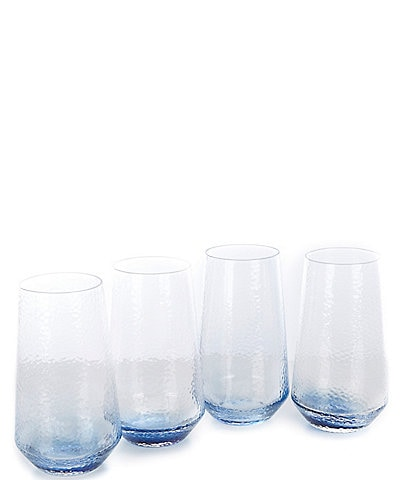 Southern Living Blue Textured Highball Glasses, Set of 4