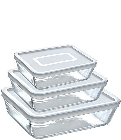Southern Living Borosilicate Glass Rectangle Baker with Lids, Set of 3