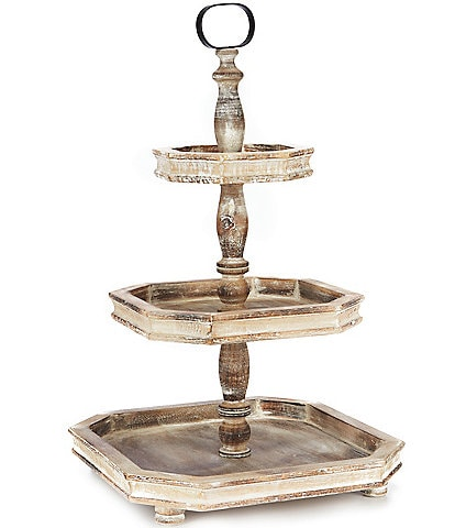 Southern Living Spring Collection Burnt White Washed 3-Tier Square Wood Server
