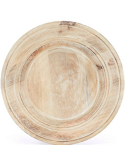 Southern Living Festive Fall Burnt Whitewashed Mango Wood Charger Plate