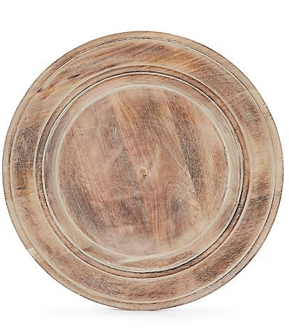 Southern Living Spring Collection Burnt Whitewashed Mango Wood Charger Plate
