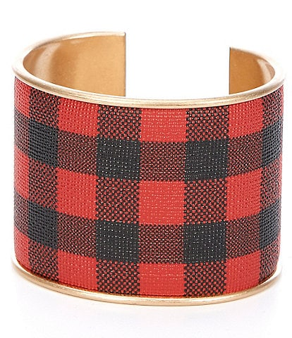 Southern Living Check Leather Cuff