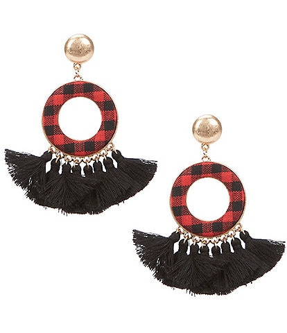 Southern Living Check Statement Tassel Earrings