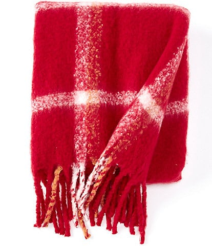 Southern Living Clayton Plaid Mohair Textured Throw