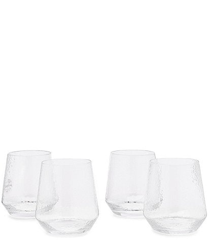 Southern Living Clear Textured Double Old-Fashioned Drinkware, Set of 4