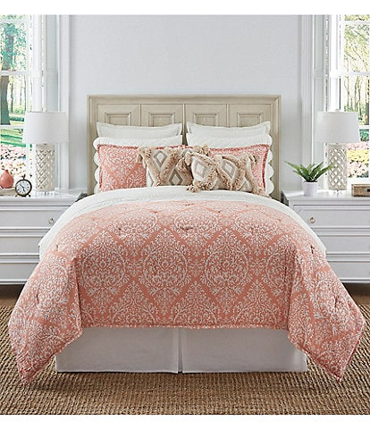 Southern Living Coastal Collection Calais Coral Medallion Comforter Set