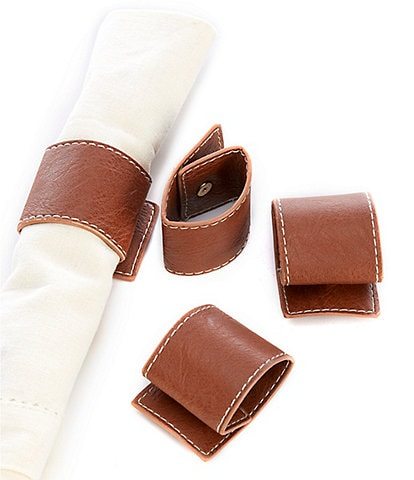 Southern Living Faux Leather Napkin Rings, Set of 4
