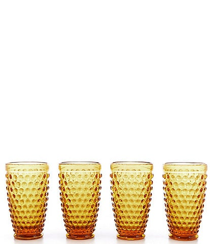 Southern Living Festive Fall Collection Amber Hobnail Tumbler, Set of 4