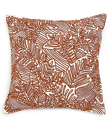 Southern Living Festive Fall Collection Embroidered Leaf Square Pillow