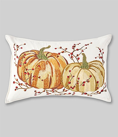 Southern Living Festive Fall Collection Embroidered Pumpkin Breakfast Pillow