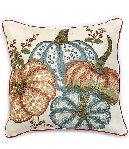 Southern Living Festive Fall Collection Embroidered Pumpkin Square Pillow