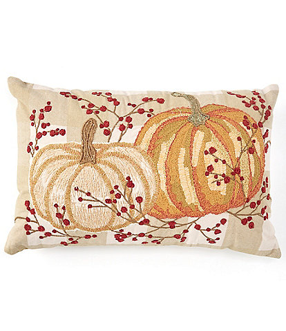 Southern Living Festive Fall Collection Embroidered Pumpkins Rectangular Pillow