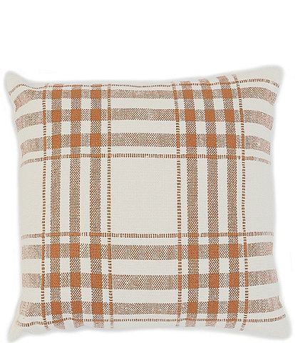 Southern Living Festive Fall Collection Linen & Cotton Plaid Square Pillow