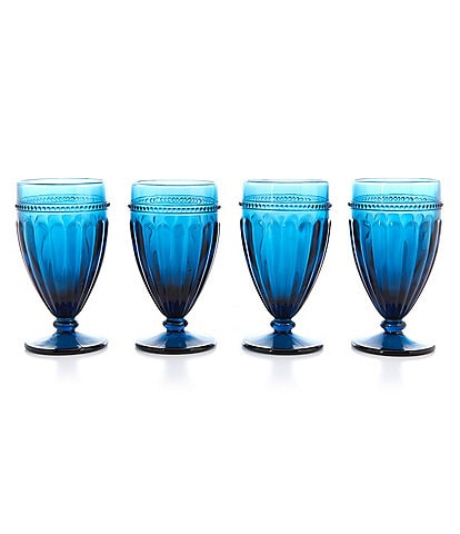 Southern Living Festive Fall Collection Teal Ribbed Footed Iced Beverage Glasses, Set of 4