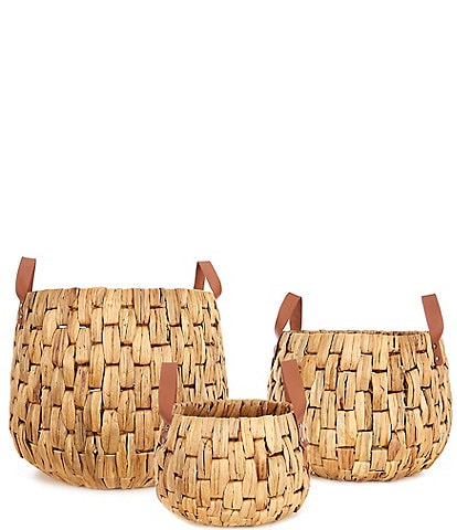 Southern Living Water Hyancinth Handled Basket