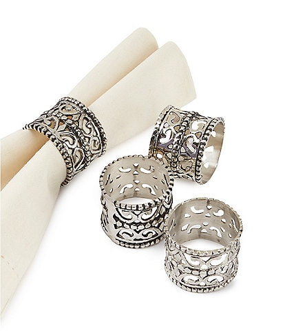 Southern Living Filigree Napkin Rings, Set of 4
