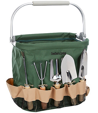 Southern Living Green Garden Bag With 5-Piece Tool Set