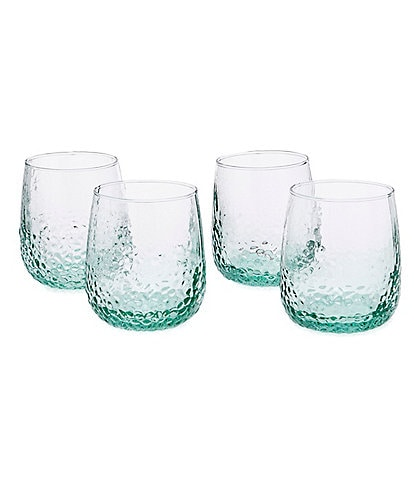 Southern Living Hammered Stemless Wine Glasses, Set of 4