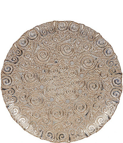 Southern Living Holiday 13#double; Round Gold Swirl Bombay Platter